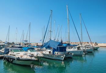 Yacht in the port of Old Jaffa in Tel Aviv