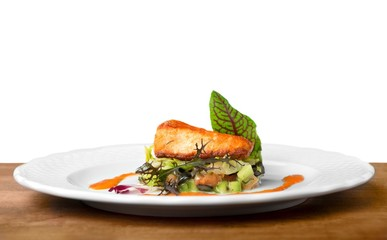 Salmon. Grilled Salmon Steak  with Spinach, Tartare Cream and