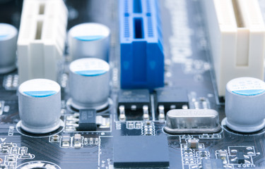 Light blue computer motherboard