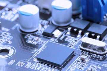 Close up of processor on the computer motherboard
