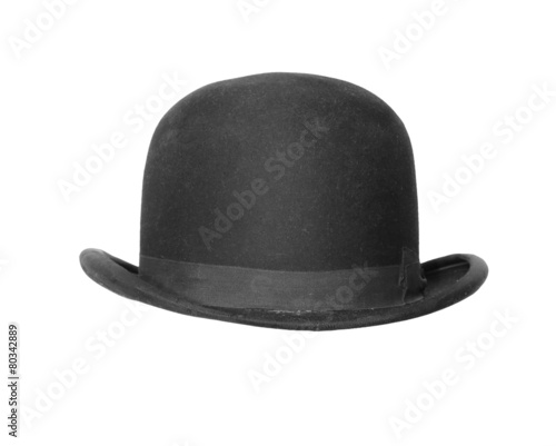 4106a455ace Black bowler hat isolated on white background.