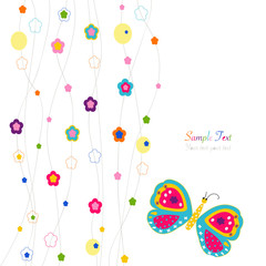 Colorful spring flowers and butterfly greeting card vector