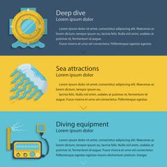 Diving elements colored illustration