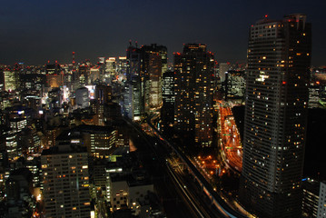 A night view of Shimbashi and Ginza areas in Tokyo, Japan