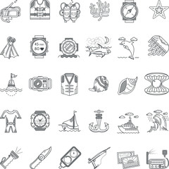 Sea leisure black line icons vector collection