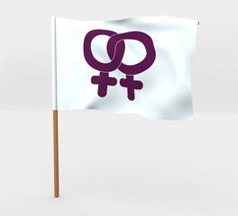 Lesbians symbol isolated windy flag on mast 3d illustration