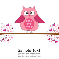 Cute owl with heart baby shower greeting card