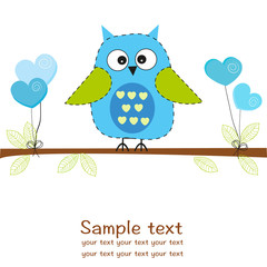 Owl with hearts balloon baby boy shower greeting card