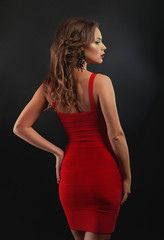 Woman's back in red dress