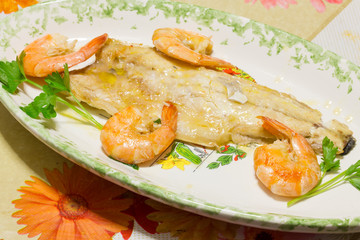 Tasty fish dish with shrimp