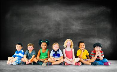Kids Children Diversity Happiness Group Education Concept