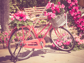 bicycle  and flowers with filter effect retro vintage style