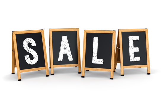 Sidewalk signs with SALE text