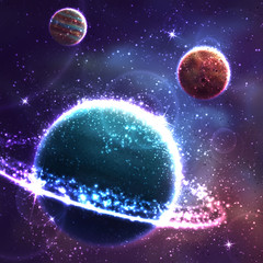 Vector space background with three planet