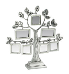 Isolated silver floral tree with leaves and frames for your