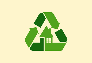 Recycle home ecology logo vector
