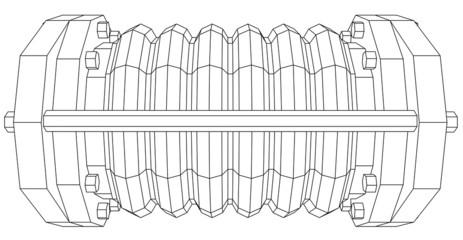 Wire-frame  industrial equipment oil flowmeter. EPS 10 vector