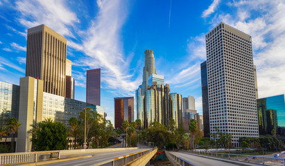 Spoed Fotobehang Los Angeles Los Angeles city skyline