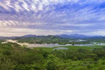 Beautiful panoramic view of Lempa river reservoir in El Salvador
