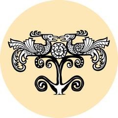 Ethnic phoenix birds totem. Vector illustration.