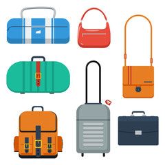 Bags, suitcase and backpack color flat vector illustration.