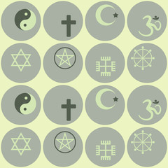 Seamless background with religious symbols
