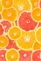 Grapefruit And Orange Slice Abstract Seamless Pattern