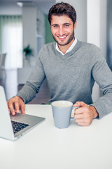 Handsome young smiling businessman working from home with a lapt