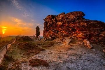 Teufelsmauer Thale im Sonnenuntergang