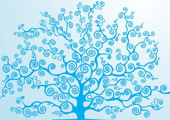 albero con rami curvi azzurro