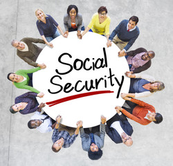 Aerial View of People and Social Security Concepts