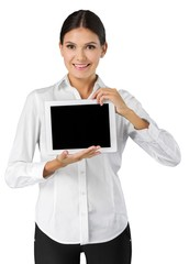 Analysis. business concept - businesswoman showing tablet pc
