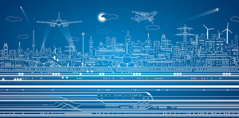 Airport panorama, vector city infrastructure, train move