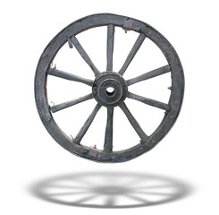 Antique Cart Wheel made of wood and iron-lined, isolated, with s