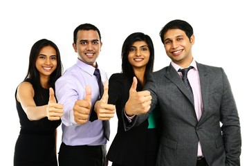 Asian Indian businesspeople in a group with thumbs up.