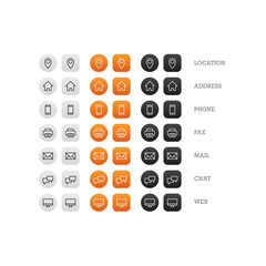 Flat multipurpose business card icon set of web icons for busine