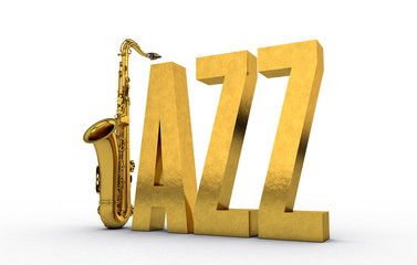 Jazz Text Sign with Saxophone