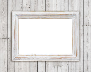 Bleached wooden picture frame on vintage plank wall background