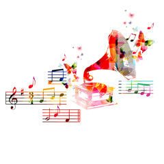 Colorful music background with gramophone