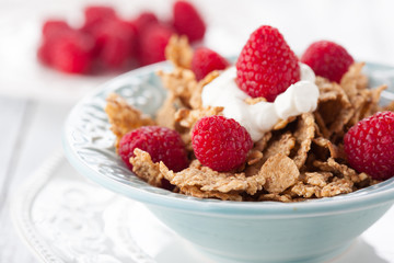 Healthy breakfast with fresh berries