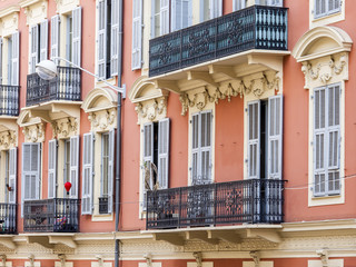 Nice, France. Typical architectural details of city buildings