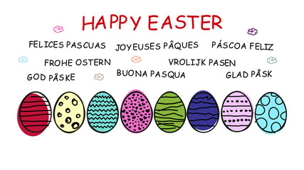 """Colorful easter eggs and """"Happy Easter"""" in different languages"""