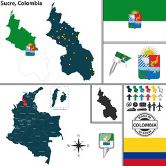 Map of Sucre, Colombia