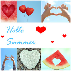 Hello Summer concept. Collage of images with different hearts.