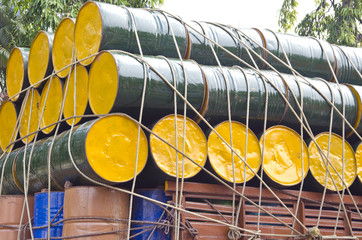 oil barrels stacked  for cargo