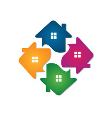 Logo houses team icon identity card for real estate business