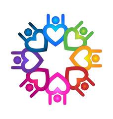 Logo teamwork optimistic people heart design icon vector