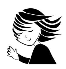 Girl waving hand silhouette logo