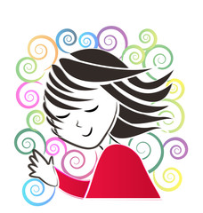 Girl waving hand retro style logo