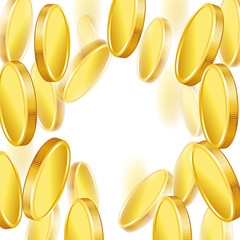 Falling gold shiny coins on white background